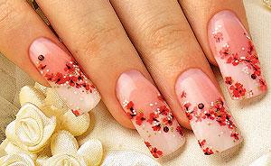 дизайн ногтей цветочный Френч